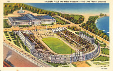 """Postcard """"The New"""" SOLDIER FIELD and FIELD MUSEUM, Lake Front, Chicago 1930's"""