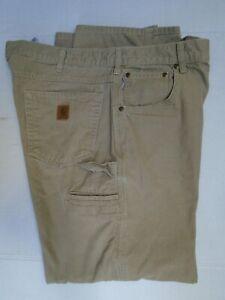 MEN'S 38X32 GOLDEN KHAKI CARHARTT LOOSE FIT CARPENTER STYLE DUNGAREE PANTS