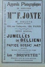 """PARIS RUE LAFAYETTE """" MAISON JONTE / JUMELLES BELLIENI """" PUBLICITE 1897"""