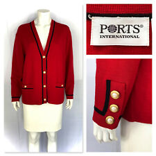 PORTS International red black pure wool classy cardigan M