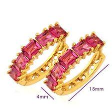 9K Gold Plated Red Crystal Women's  Hoop Earring Womens Luxury  Heart Jewelry