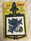 Vintage Black Cast Iron Blue Lobster Fish Ceramic Tile Trivet Kitchen Wall Decor