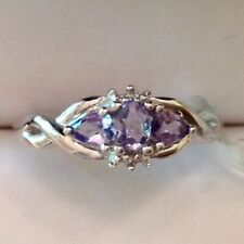 ~New Exquisite Tanzanite Cluster Ring 10K Solid White Gold Size 7 - Sale Priced
