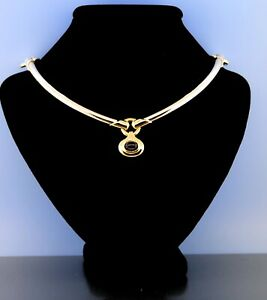 Movado Iolite Choker Necklace in Sterling Silver 925 & 18K Yellow Gold Size 16""