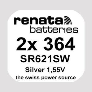 2x Renata 364 Uhren-Batterie Knopfzelle SR621SW AG1 Silberoxid Blisterware Neu