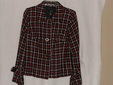 Ladies R.Q.T. Petite Size 10  Black/Red/White Plaid Jacket, EUC