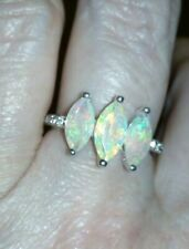 100% Genuine Ethiopian Opal & White Topaz Sterling Silver Ring 1.69cts ~