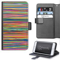 multicolore rayures étui pour téléphone, pochette cuir, protection Samsung,