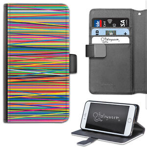 Multicolour Stripe Phone Case, PU Leather Wallet Case, Cover For Samsung, Apple