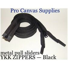 "1 YKK Zippers 78"" Black #10 Metal Pull with Free Top Stops"