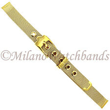 10mm Glam Rock Gold Tone Reinforced Mesh W/ Eyelets Ladies Watch Band GBMH01SY