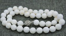 """10mm white Carving coral Tridacna Necklace 18 """" magnet buckle"""
