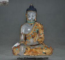 Nepal Crystal Silver 24KGold Filigree Turquoise Sakyamuni Medicine Buddha Statue