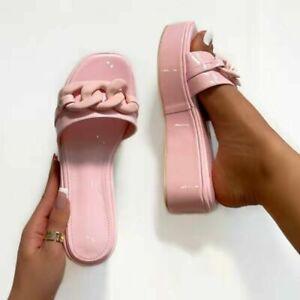 Summer Womens Platform Slippers Open Toe Slip On Clear Wedge Heel Sandals Shoes