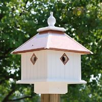 New Wing & A Prayer Carriage Birdhouse Hammered Copper Roof Backyard Garden