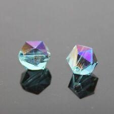 12 Pieces Swarovskii 6mm split facet Crystal bead B Sky blue+ plate purple