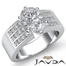 Reluciente Ovalado Diamante Pesado Anillo de Compromiso GIA G VS2 14k Oro Blanco