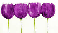 PURPLE FLORAL CANVAS ART PICTURE TULIPS PAINTING 36x20""