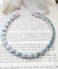 "Hallmarked Sterling Silver & Blue Topaz Tennis Bracelet 7.5"" BRIDAL"