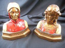 Vintage Bronze Dante And Beatrice Electroformed Bronze Bookends Marion Bronze Co