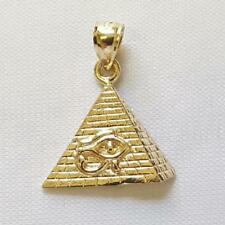 14k Yellow Gold Eye of Horus Egyptian Pyramid Pendant / Charm, Made in USA