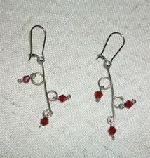 RED SWAROVSKI HAND CRAFTED DROP EARRINGS #05