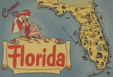 Come To Florida Map Of The State, Pin-Up Girl - Florida Poster Print, 13x19