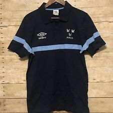 Men's Umbro Soccer Short Sleeve Polo Shirt Dublin Embroidery Size Large Blue