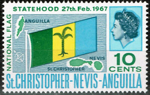St.Chrosropher Nevis Anguilla Islands Map and Flag stamp 1967 MLH A-24