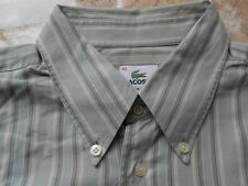 Ea0795 Lacoste camisa 42 caqui tonos marrón claro a rayas beige