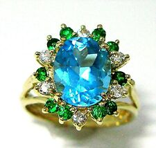 Ladies 18k-y gold oval Swiss blue topaz with diamonds/emeralds combination ring