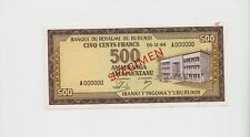SPECIMEN: BURUNDI: 500 Francs Banknote 1964 ( Pick 13) UNC condition