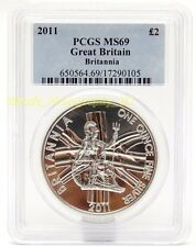 2011 Silver Britannia £2 ONE Troy Ounce .999 FINE Silver Graded Coin PCGS MS69