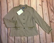 Motto Women's Casual Blazer Jacket Beige Embellished Long Sleeve Size Large