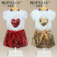 AU Sequins Baby Toddlers Girls Kids T-Shirt Top+Pants Shorts Outfit Sets Clothes