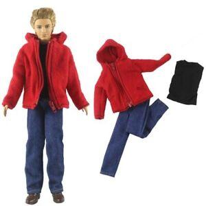 Dolls Clothes For Ken Boy Doll Red Coat T-Shirt Trousers Pants For Ken Boy Dolls
