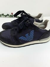 Boys Jnr Blue Navy Armani Trainers Lace Ups Size 1.5 Court Shoes