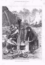 1886-ANTICA STAMPA FINE ART scene agricole DICEMBRE BRUCIATORE CARBONE (160)