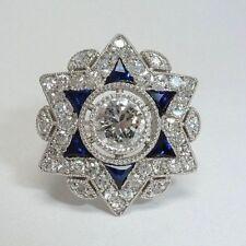 Star Shape Art Deco White & Blue Sapphire Engagement Wedding 925 Silver Ring 3Ct