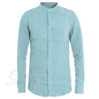 Camicia Uomo Collo Coreano Tinta Unita Celeste Lino Maniche Lunghe Casual GIOSAL