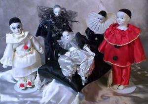 Vintage Collection 5 Harlequin Sad Clowns Porcelain Bisque Clown Ornaments Cute!
