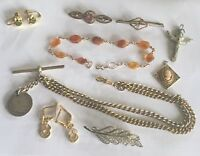 Antique Jewellery. Amber. Brooches. Albert Chain. Earrings. Etc