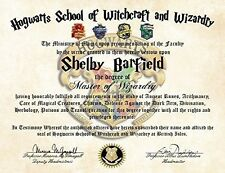 Personalized Harry Potter Diploma - Hogwarts School of Witchcraft and Wizardry D