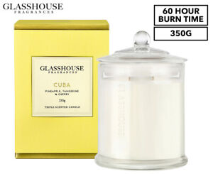 Glasshouse Fragrances Cuba Triple Scented Candle 350g - 60hr Burn Time Free Post