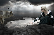 Framed Print - Gothic Woman & Wolf Over a Grim Mountain Stream (Picture Poster)