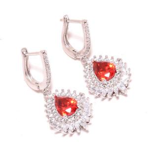 "Mozambique Garnet & White Topaz Gemstone 925 Sterling Silver Earring 1.48"" S2692"