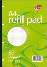 80 Sheet A4 Refill Pad  School Office Punched Paper SQUARED College Green
