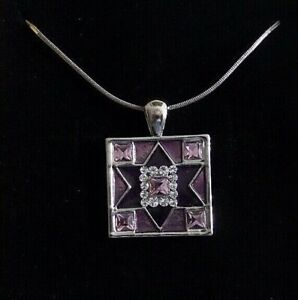 """Star of David  Amethyst & Purple   Enamel & Rhinestone Medallion with 16"""" Chain"""