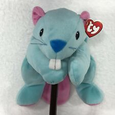 """Ty Beanie Baby 1998 Chewy Beaver Plush Teal Pink Ribbon Bow 14"""""""