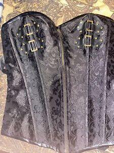 Sexy Lingerie Corset Lace Up Back Zipper Front Size L Faux Leather 🔥🔥🔥